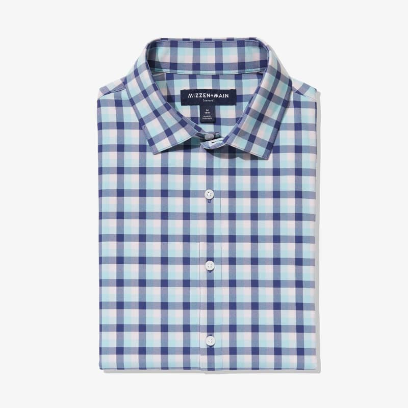 Leeward Dress Shirt - Cobalt Blue And Pink MultiCheck, featured product shot