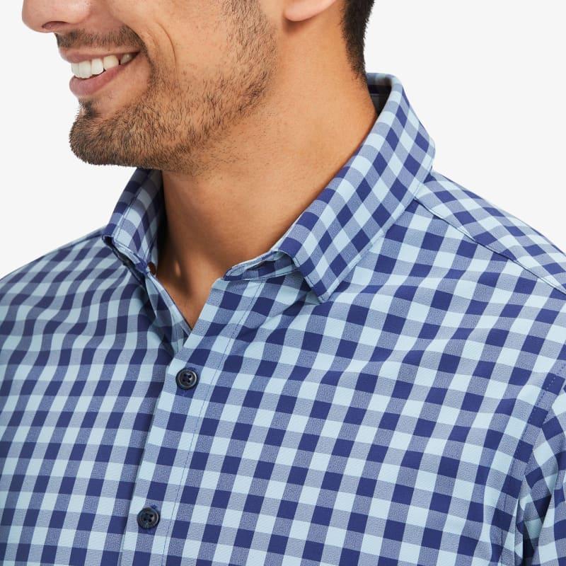 Leeward Antimicrobial Dress Shirt - Cobalt Blue HeatheredCheck, lifestyle/model