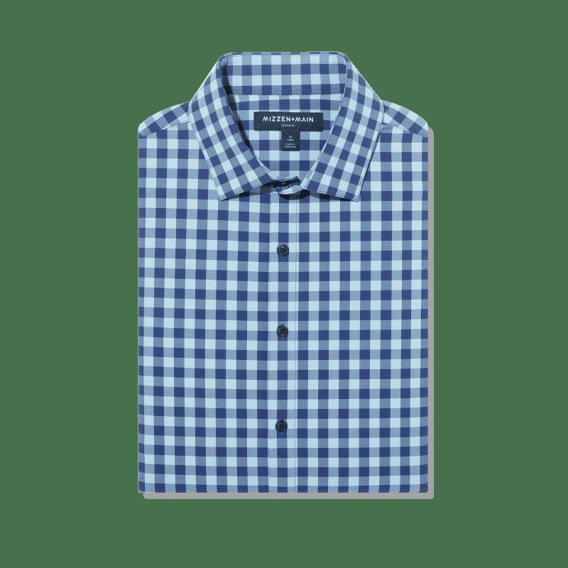 Leeward Antimicrobial Dress Shirt - Cobalt Blue HeatheredCheck, featured product shot