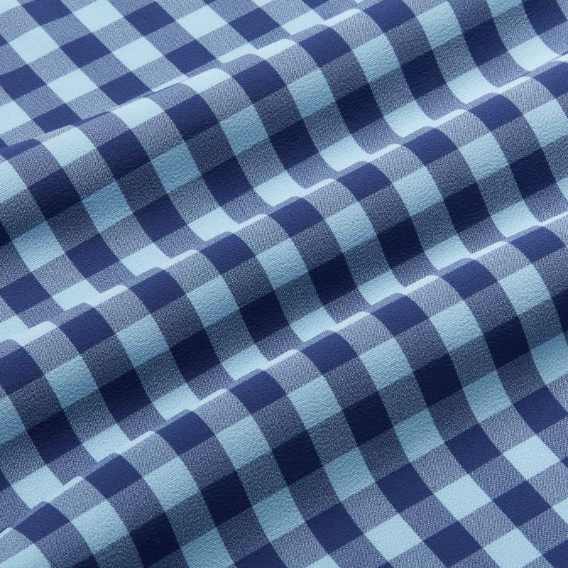 Leeward Antimicrobial Dress Shirt - Cobalt Blue HeatheredCheck, fabric swatch closeup