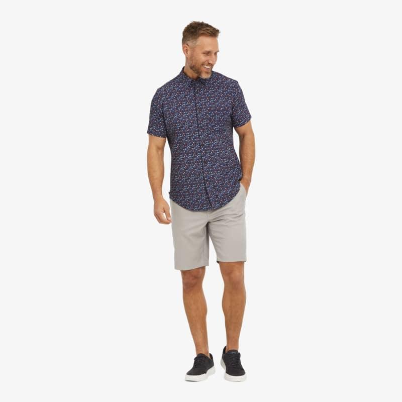 Leeward Short Sleeve - Red And BlueFloral, lifestyle/model
