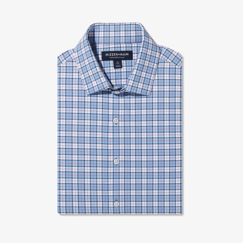 Lightweight Leeward Dress Shirt - Navy And Bel Air Blue MultiPlaid, featured product shot