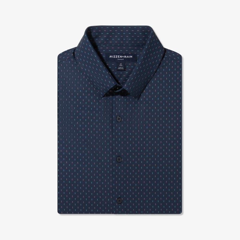 Lightweight Leeward Dress Shirt - Navy And Pink GeoPrint, featured product shot
