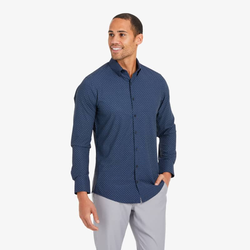 Lightweight Leeward Dress Shirt - Navy And Pink GeoPrint, lifestyle/model
