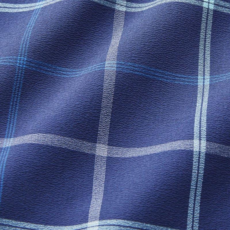 Lightweight Leeward Dress Shirt - Navy And Aqua MultiPlaid, fabric swatch closeup