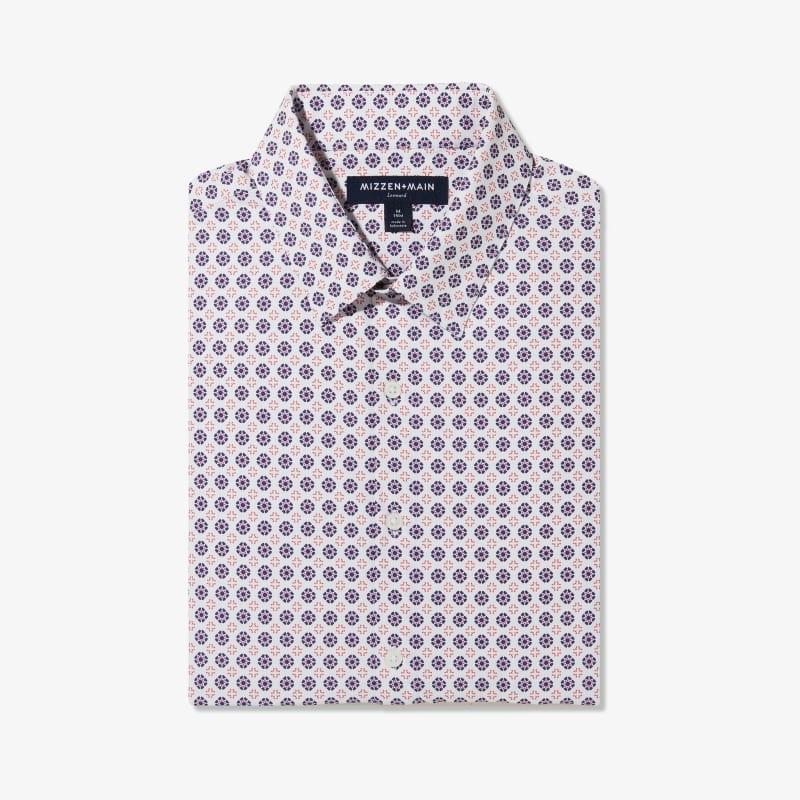 Lightweight Leeward Dress Shirt - Navy And Red GeoPrint, featured product shot
