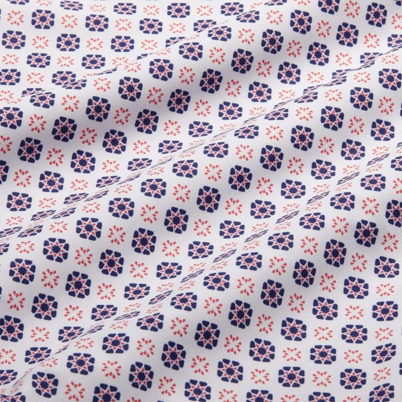 Lightweight Leeward Dress Shirt - Navy And Red GeoPrint, fabric swatch closeup