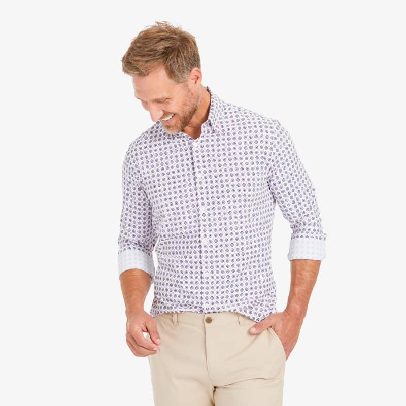 Lightweight Leeward Dress Shirt - Navy And Red GeoPrint, lifestyle/model