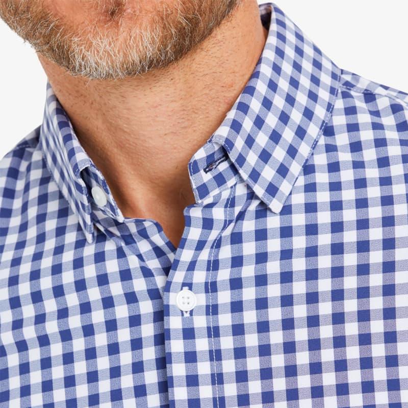 Leeward Dress Shirt - Cobalt Blue Gingham, lifestyle/model