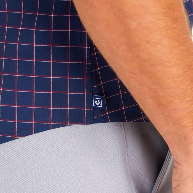 Lightweight Leeward Short Sleeve - Navy Red Tattersall, lifestyle/model