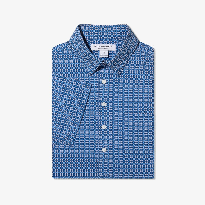 Leeward Short Sleeve Popover - Blue Coral Circle GeoPrint, featured product shot