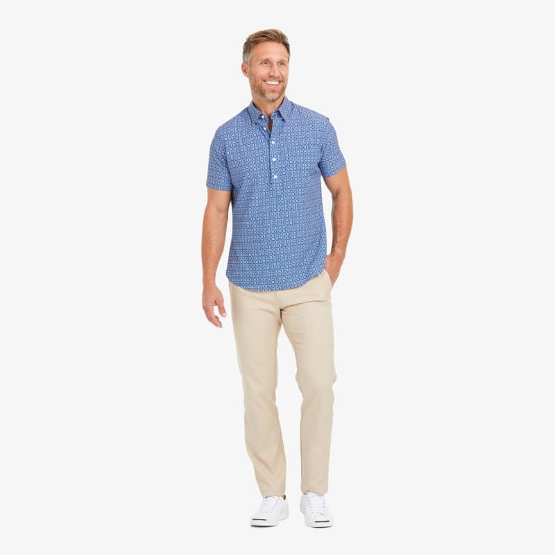 Leeward Short Sleeve Popover - Blue Coral Circle GeoPrint, lifestyle/model
