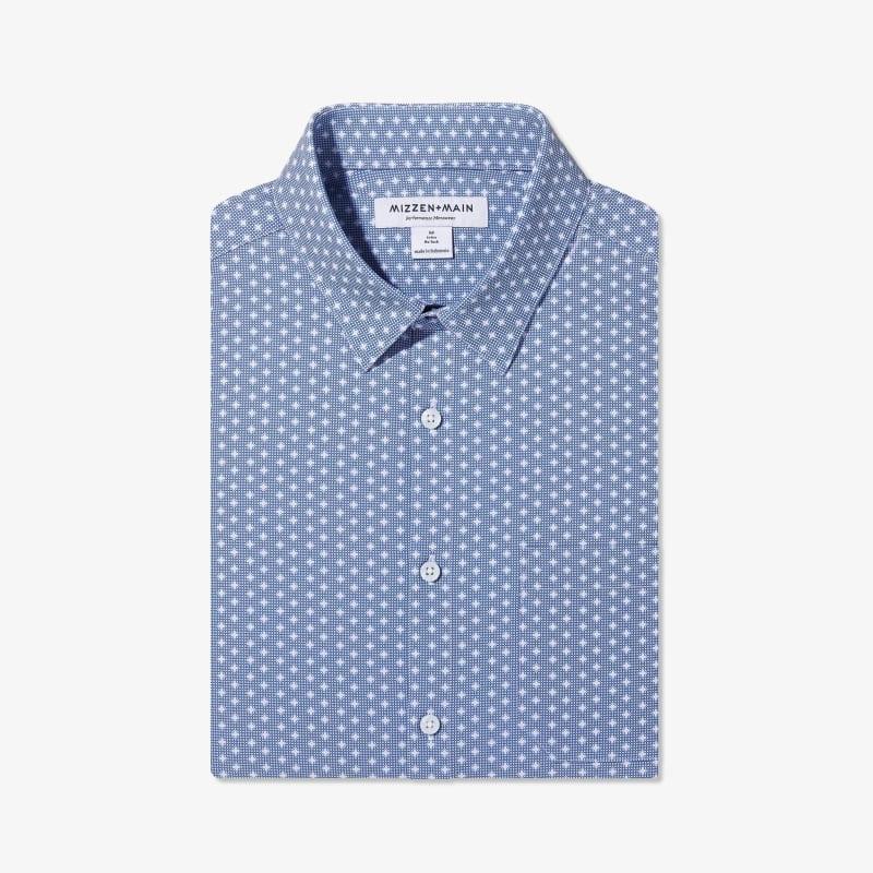 Leeward No Tuck Dress Shirt - Navy Geo DotPrint, featured product shot