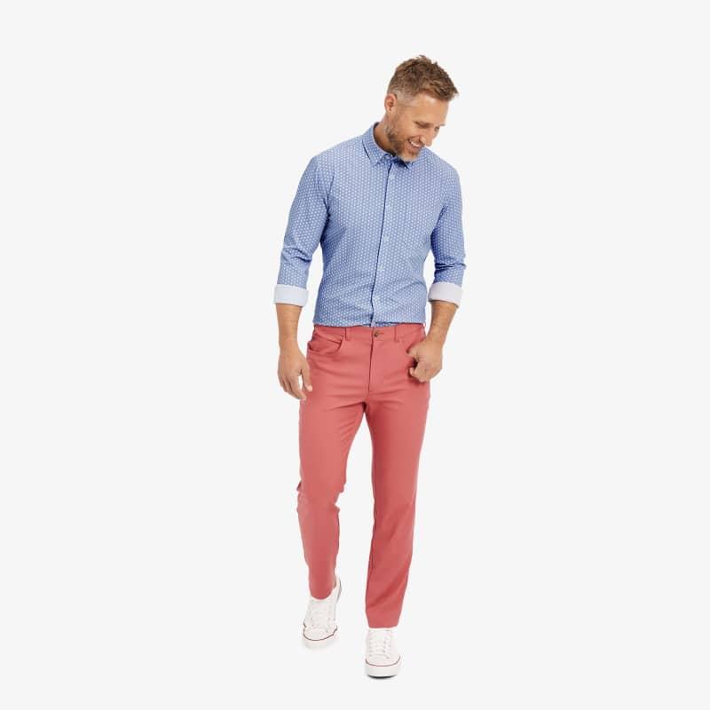 Leeward No Tuck Dress Shirt - Navy Geo DotPrint, lifestyle/model