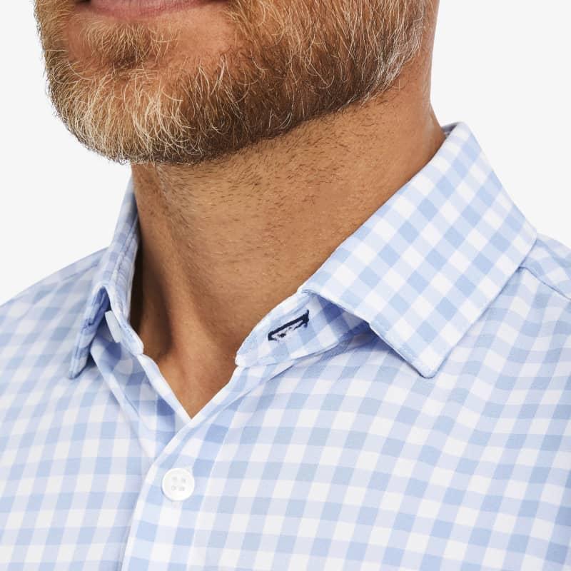 Leeward No Tuck Dress Shirt - Light Blue Gingham, lifestyle/model