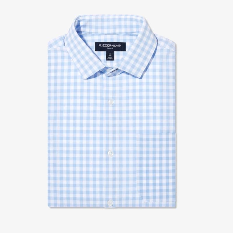 Leeward No Tuck Dress Shirt - Light Blue Gingham, featured product shot