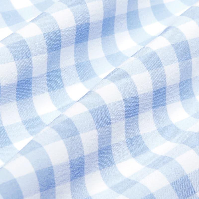 Leeward No Tuck Dress Shirt - Light Blue Gingham, fabric swatch closeup