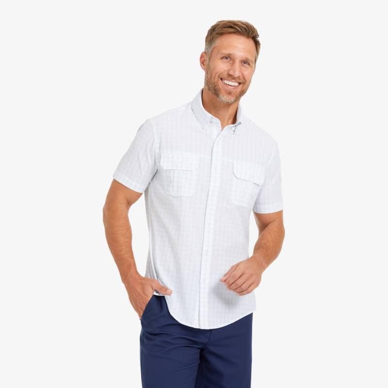 Leeward Outdoor Shirt - Light Blue Windowpane, lifestyle/model