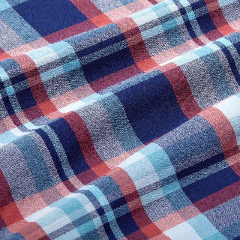 Leeward Short Sleeve - Navy And RedMadras, fabric swatch closeup