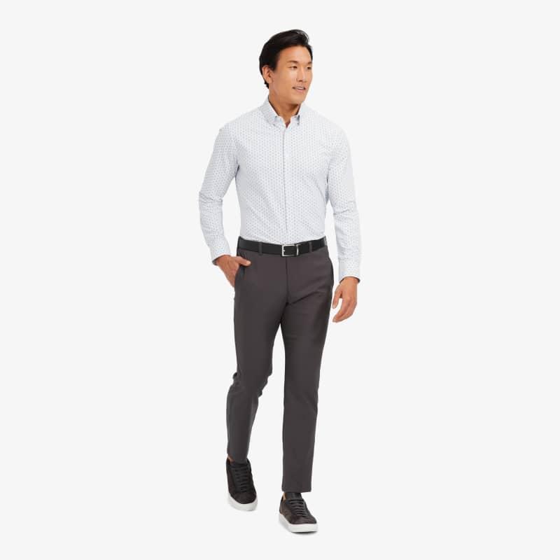 Leeward Antimicrobial Dress Shirt - Skyway And Navy CirclePrint, lifestyle/model