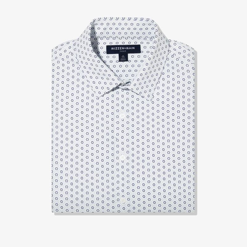 Leeward Antimicrobial Dress Shirt - Skyway And Navy CirclePrint, featured product shot