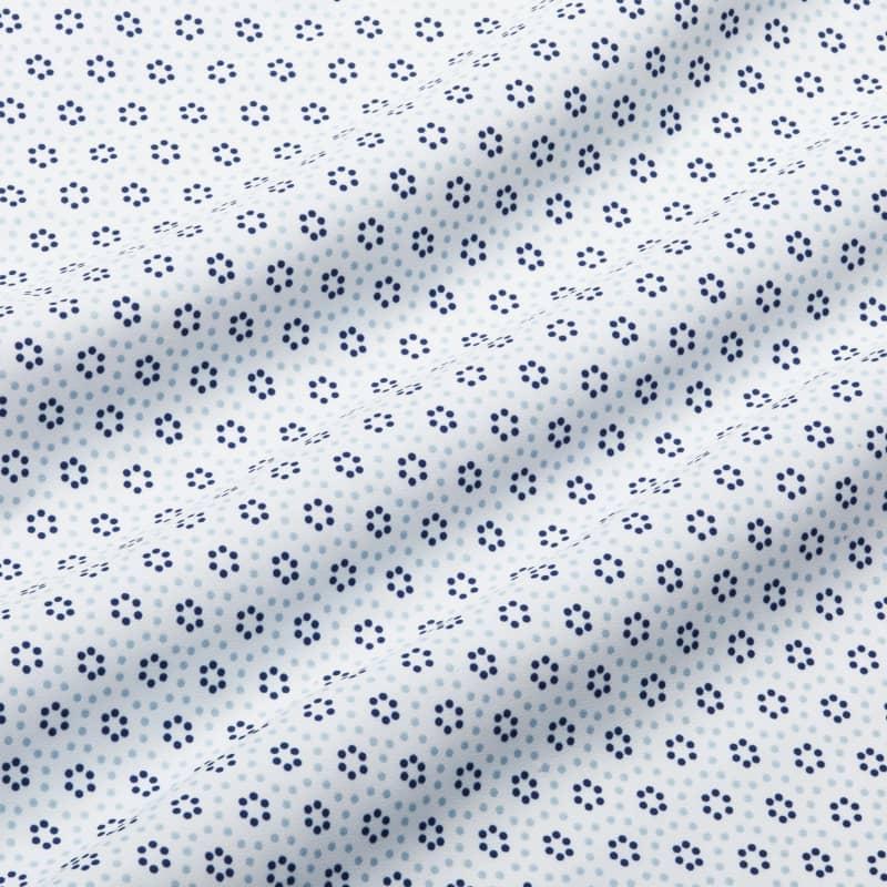 Leeward Antimicrobial Dress Shirt - Skyway And Navy CirclePrint, fabric swatch closeup
