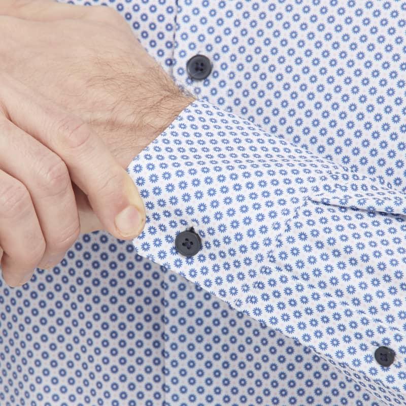 Leeward Antimicrobial Dress Shirt - Navy And Rose FloralPrint, lifestyle/model