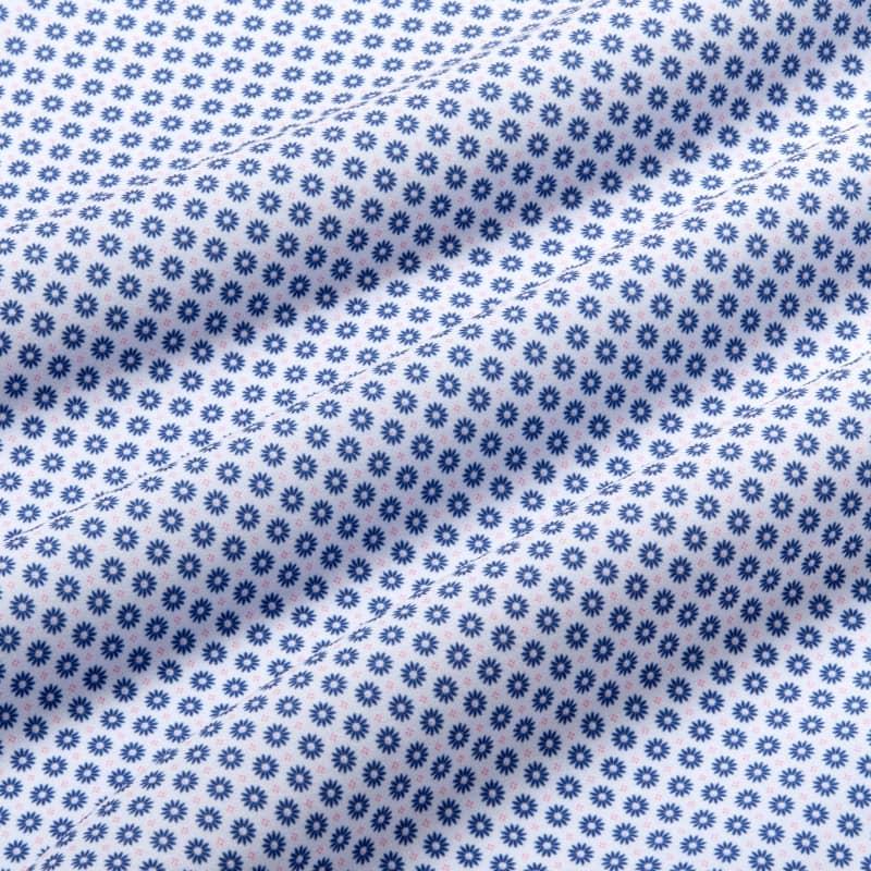 Leeward Antimicrobial Dress Shirt - Navy And Rose FloralPrint, fabric swatch closeup