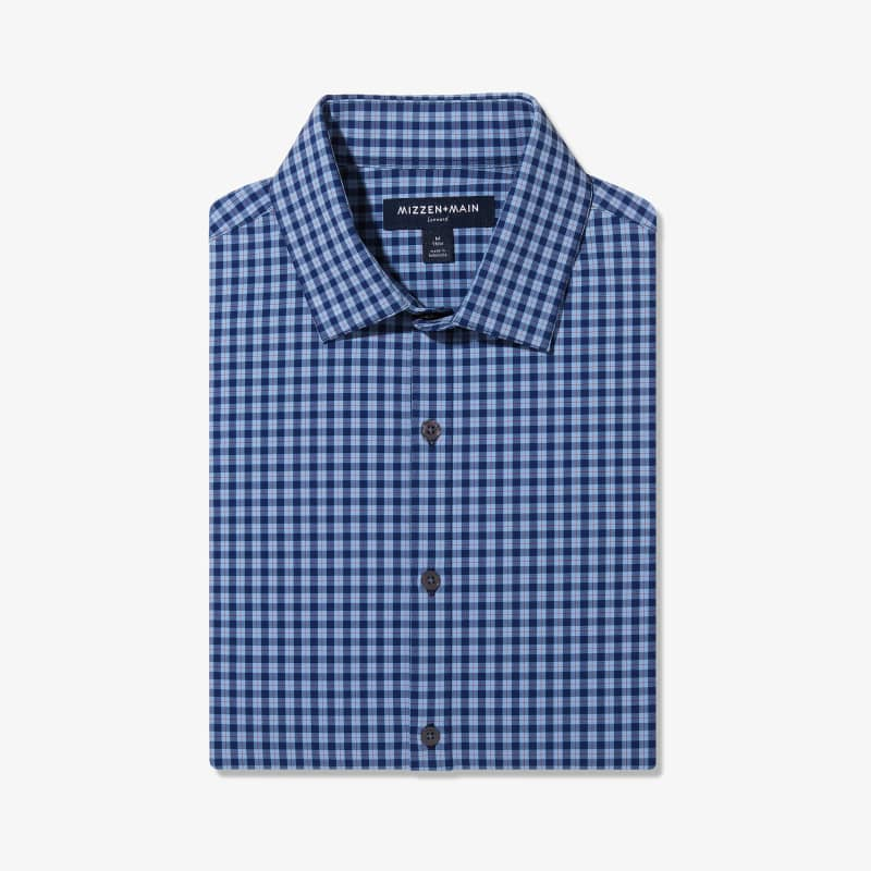 Lightweight Leeward Dress Shirt - Blue Red MultiPlaid, featured product shot