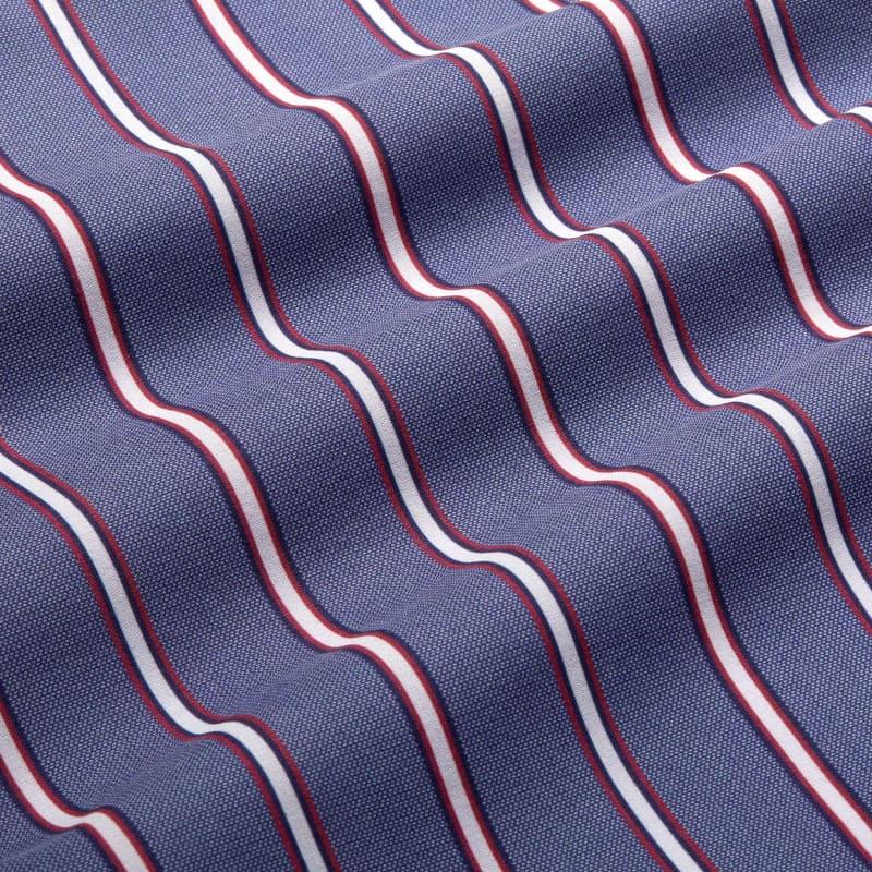 Leeward Short Sleeve - Chambray Horizontal StripePrint, fabric swatch closeup