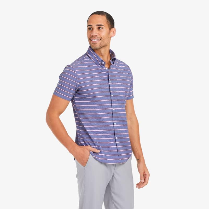 Leeward Short Sleeve - Chambray Horizontal StripePrint, lifestyle/model