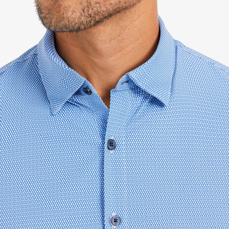 Lightweight Leeward Dress Shirt - Blue Navy Mini SquarePrint, lifestyle/model