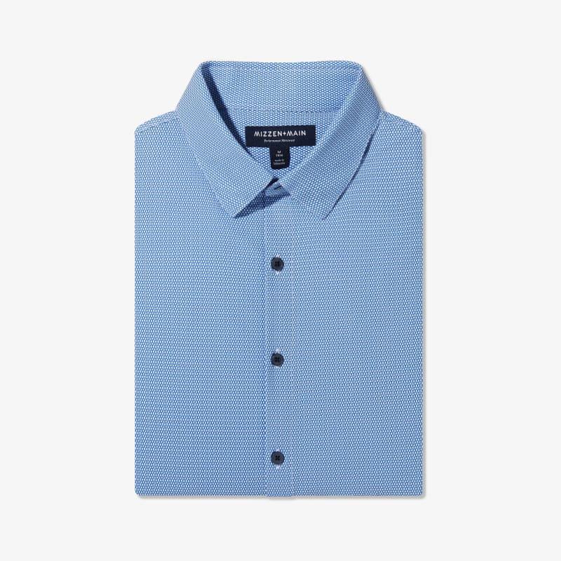 Lightweight Leeward Dress Shirt - Blue Navy Mini SquarePrint, featured product shot
