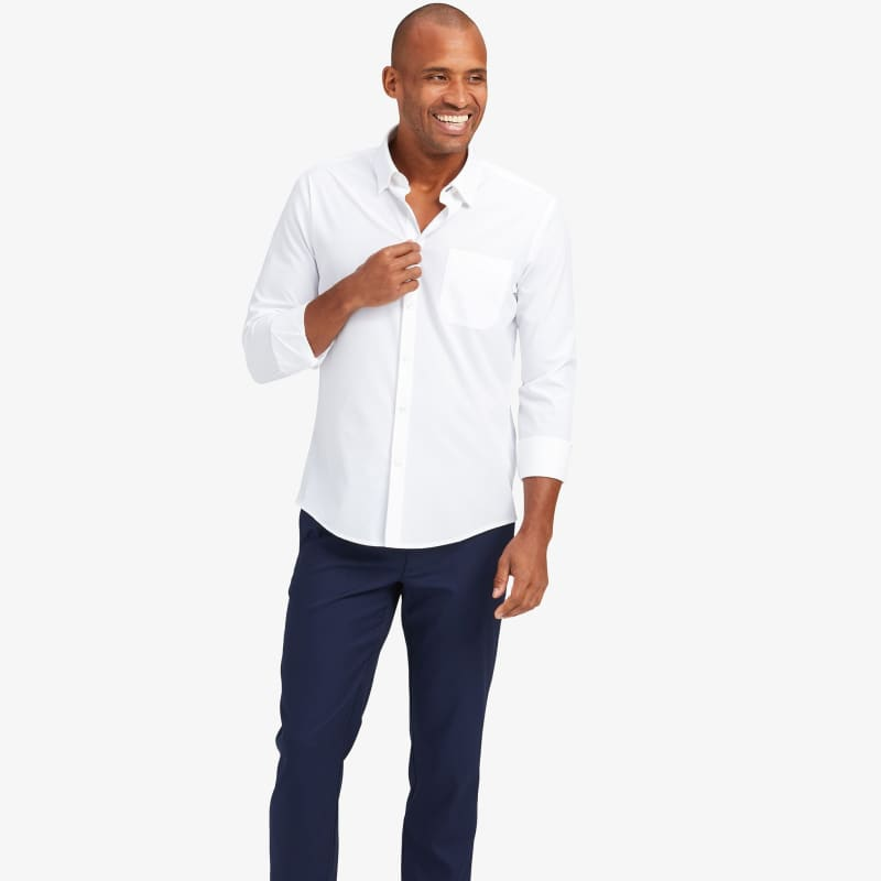 Leeward No Tuck Dress Shirt - White Solid, lifestyle/model