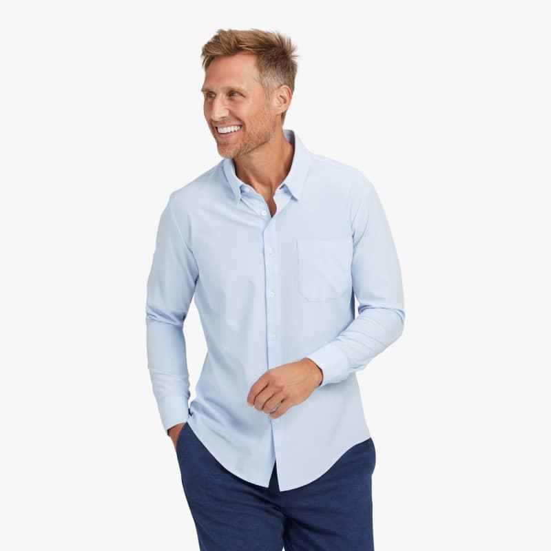 Leeward Casual Dress Shirt - Light Blue Solid, lifestyle/model