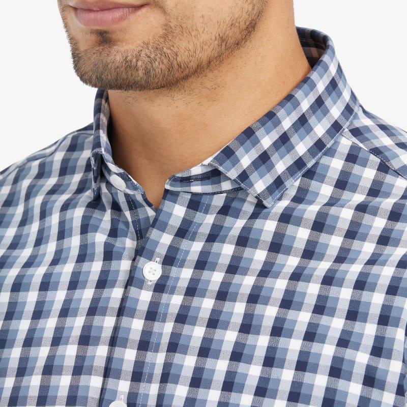 Leeward Antimicrobial Dress Shirt - Navy White MultiCheck, lifestyle/model