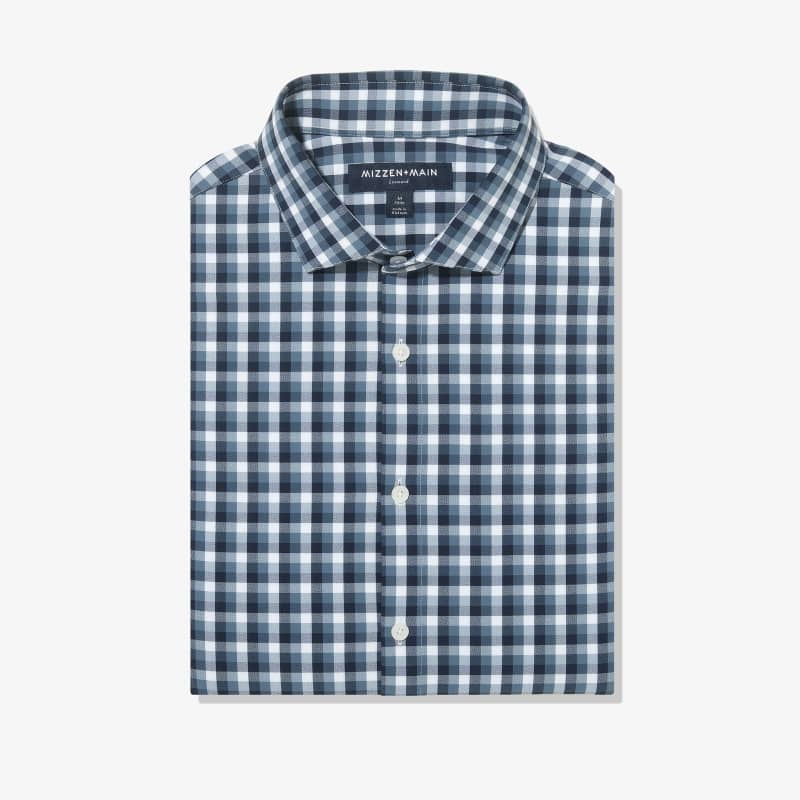 Leeward Antimicrobial Dress Shirt - Navy White MultiCheck, featured product shot