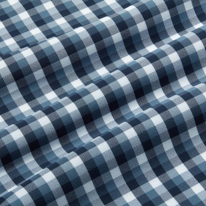 Leeward Antimicrobial Dress Shirt - Navy White MultiCheck, fabric swatch closeup