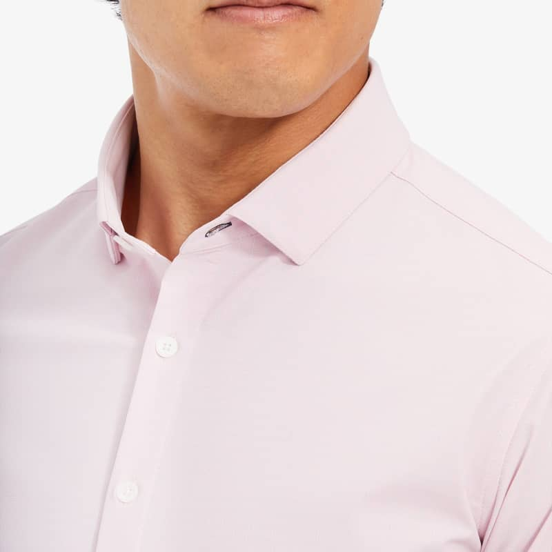 Leeward Antimicrobial Dress Shirt - Pink and GrayCheck, lifestyle/model