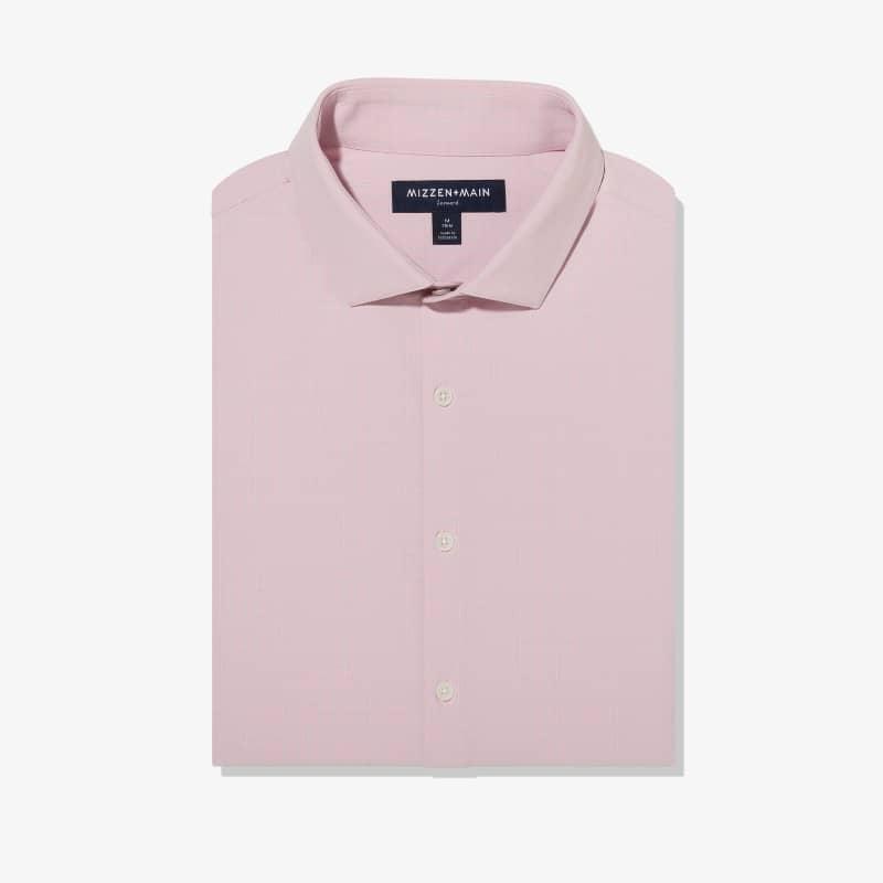 Leeward Antimicrobial Dress Shirt - Pink and GrayCheck, featured product shot