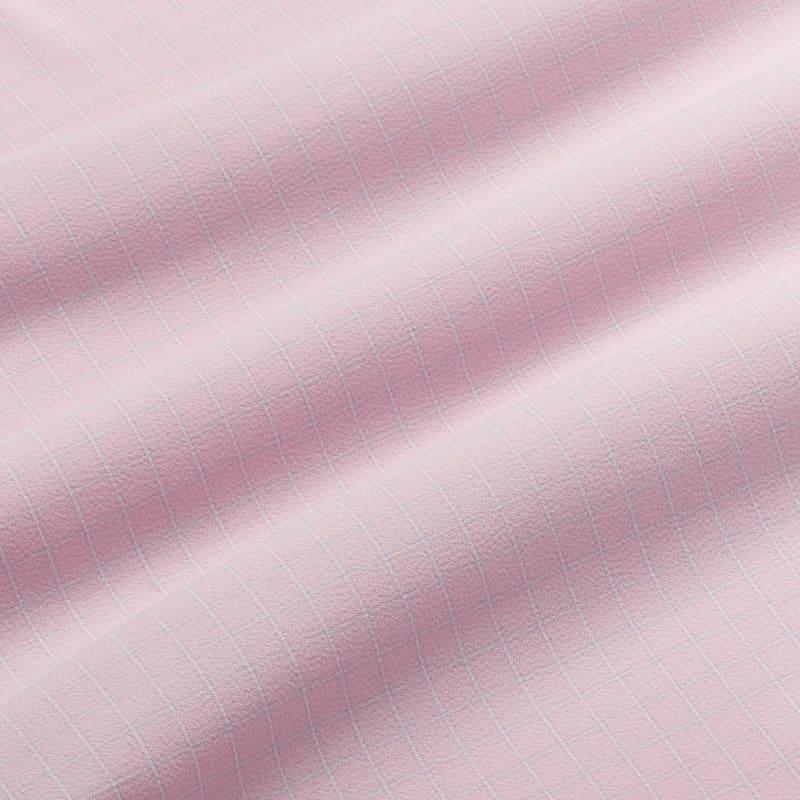 Leeward Antimicrobial Dress Shirt - Pink and GrayCheck, fabric swatch closeup