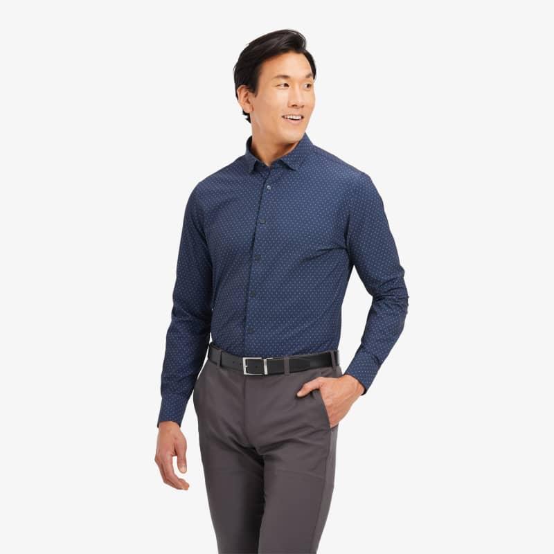 Leeward Antimicrobial Dress Shirt - Navy Pink GeoPrint, lifestyle/model