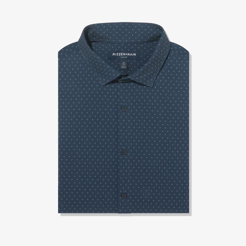 Leeward Antimicrobial Dress Shirt - Navy Pink GeoPrint, featured product shot