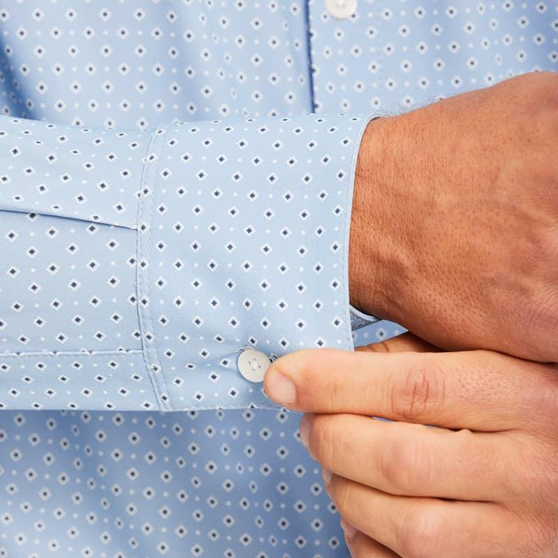 Lightweight Leeward Dress Shirt - Blue Diamond GeoPrint, lifestyle/model