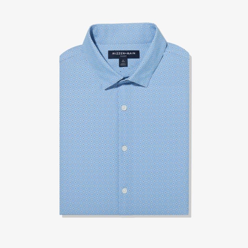 Lightweight Leeward Dress Shirt - Blue Diamond GeoPrint, featured product shot