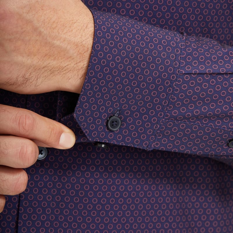 Leeward Antimicrobial Dress Shirt - Burgundy And Navy GeoPrint, lifestyle/model