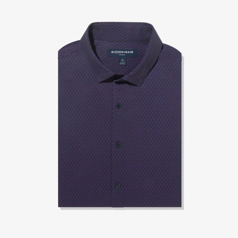 Leeward Antimicrobial Dress Shirt - Burgundy And Navy GeoPrint, featured product shot