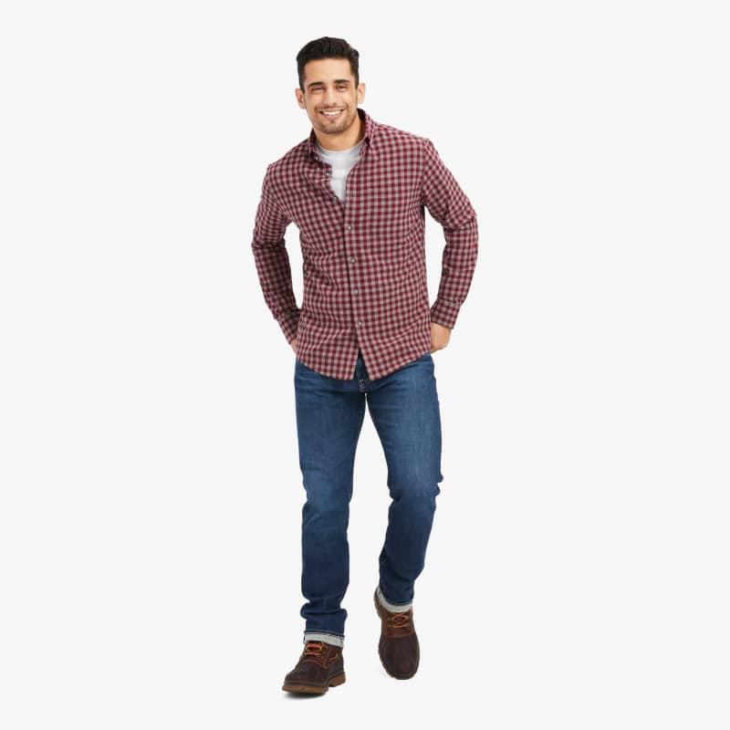 City Flannel - Burgundy Check, lifestyle/model