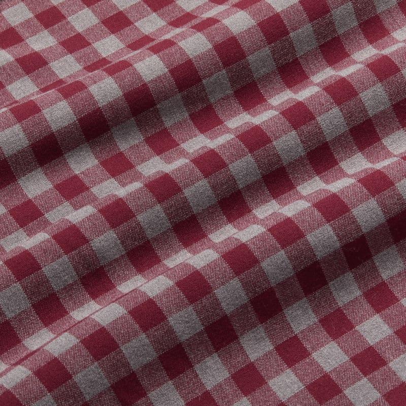 City Flannel - Burgundy Check, fabric swatch closeup