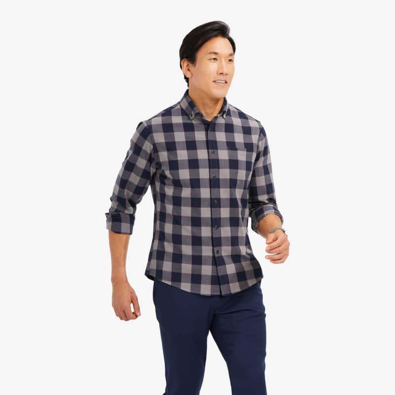 City Flannel - Navy Large Check, lifestyle/model